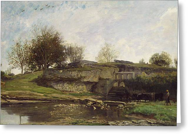 The Trees Greeting Cards - The Lock at Optevoz Greeting Card by Charles Francois Daubigny