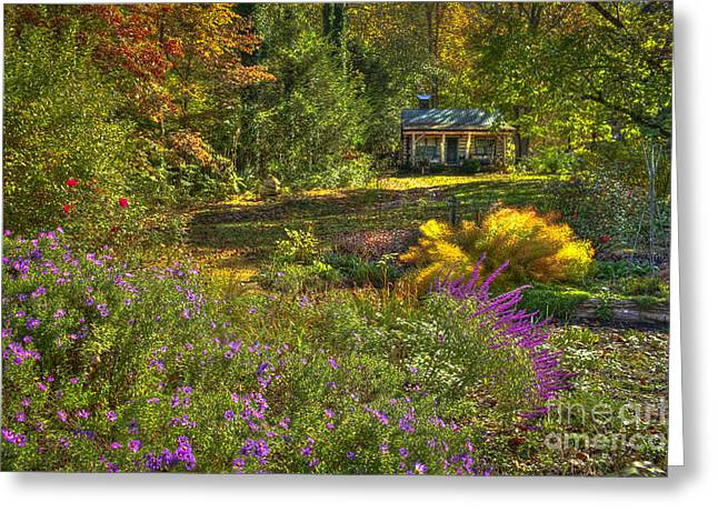 Log Cabins Greeting Cards - The Log Cabin Flower Beds Brevard NC Greeting Card by Reid Callaway