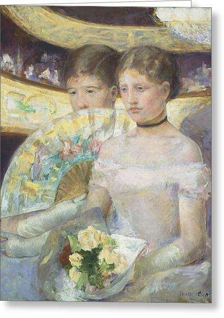 Theatres Greeting Cards - The Loge Greeting Card by Mary Stevenson Cassatt