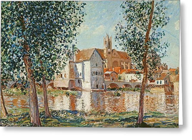 Moret Greeting Cards - The Loing at Moret September Morning Greeting Card by Alfred Sisley