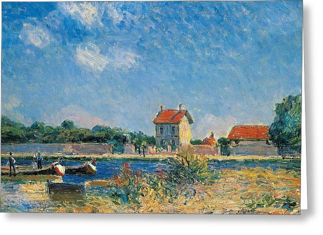 1874 Greeting Cards - The Loing Canal at Saint-Mammes Greeting Card by Alfred Sisley