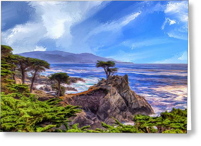 Big Sur Beach Paintings Greeting Cards - The Lone Cypress Greeting Card by Dominic Piperata