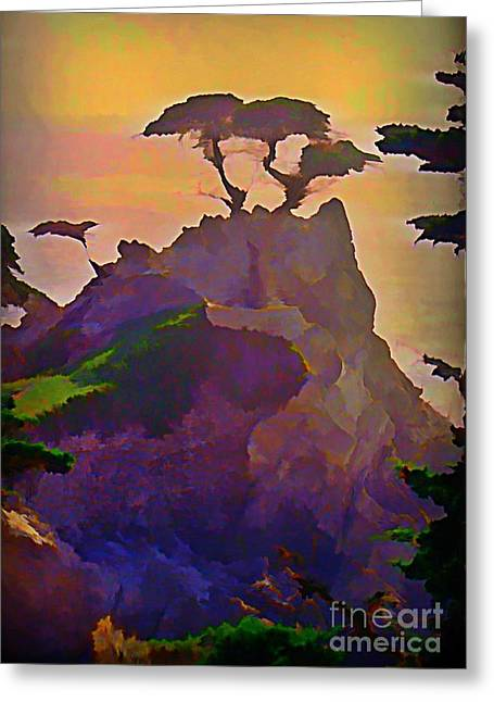 Halifax Art Work Greeting Cards - The Lone Cypress Greeting Card by John Malone