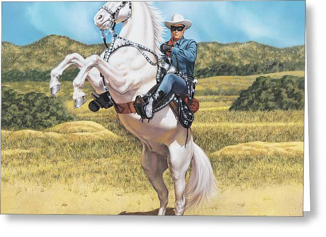Lone Horse Paintings Greeting Cards - The Lone Ranger Greeting Card by Dick Bobnick
