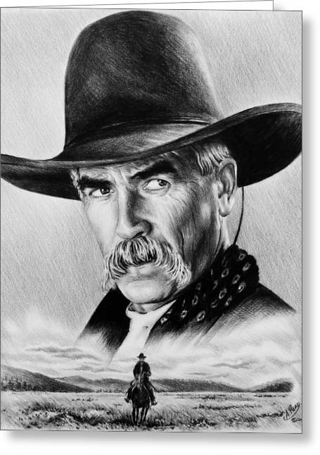 Movie Star Drawings Greeting Cards - The Lone Rider  wash effect Greeting Card by Andrew Read