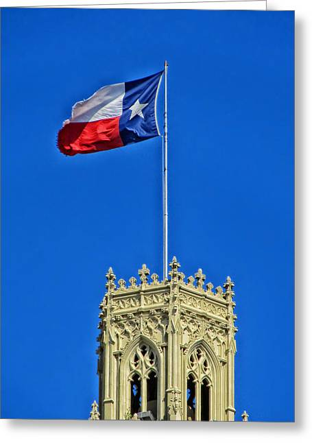 Flags Flying Greeting Cards - The Lone Star Flag over the Emily Moran Hotel - San Antonio Greeting Card by Mountain Dreams