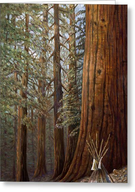 Crow. Bird Music Greeting Cards - The Lone Tee Pee Redwood Greeting Card by Gregory Perillo