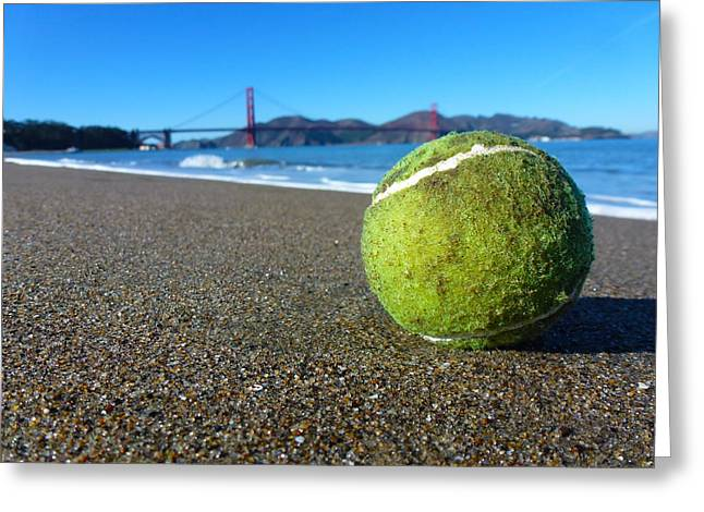 Blue Green Wave Pyrography Greeting Cards - The Lone Tennis Ball Greeting Card by Fabien White