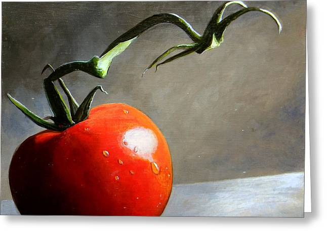 Food Art Paintings Greeting Cards - The Lone Tomato Greeting Card by Steve Goad