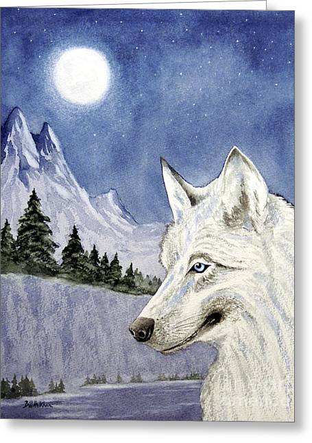 Hunters Moon Greeting Cards - The Lone Wolf Greeting Card by Bill Holkham