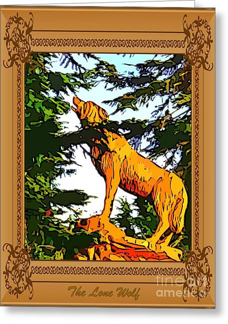 Wooden Sculpture Digital Art Greeting Cards - The Lone Wolf Greeting Card by John Malone