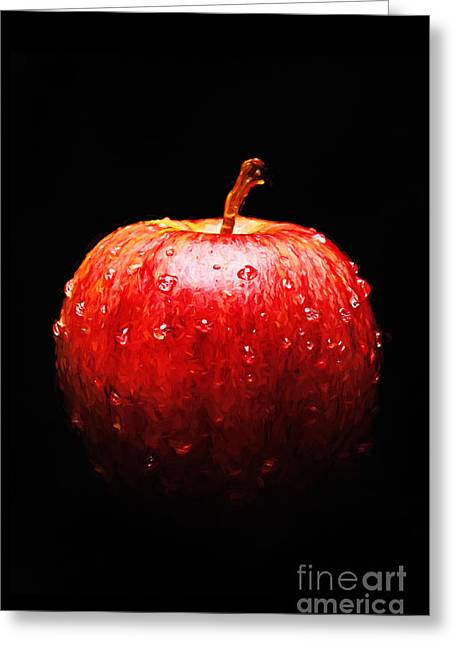 Apple Art Mixed Media Greeting Cards - The Lonely Apple Greeting Card by Andee Design