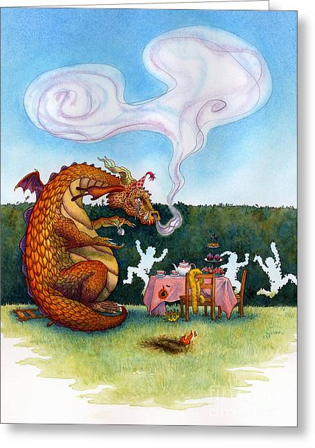 Tea Party Greeting Cards - The Lonely Dragon Greeting Card by Isabella Kung