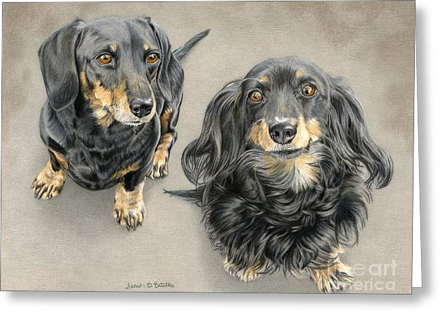 Two Hounds Greeting Cards - The Long And Short Of It Greeting Card by Sarah Batalka