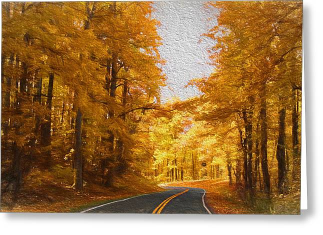Road Travel Greeting Cards - The Long and Winding Road Greeting Card by Kim Hojnacki