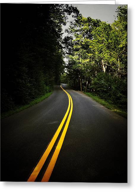 Mountain Road Greeting Cards - The Long and Winding Road Greeting Card by Natasha Marco