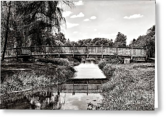 The Long Footbridge Greeting Card by Olivier Le Queinec