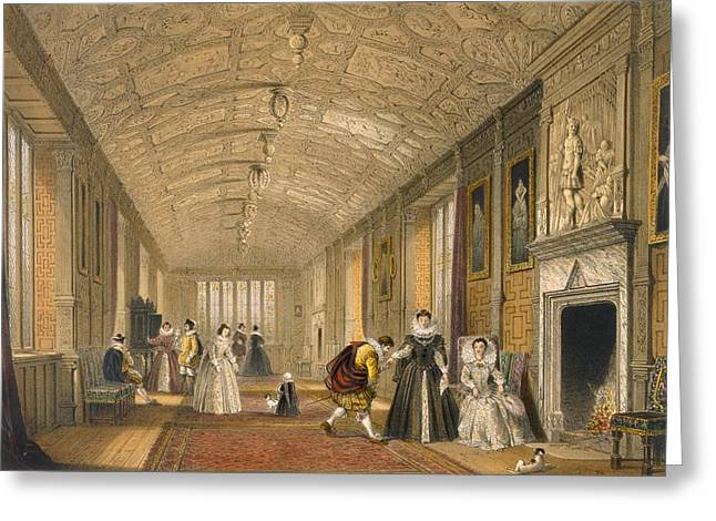 Royalty Greeting Cards - The Long Gallery At Lanhydrock Greeting Card by Joseph Nash