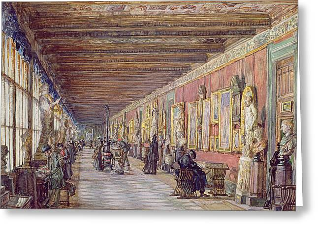Florence Greeting Cards - The Long Gallery, The Uffizi Greeting Card by English School