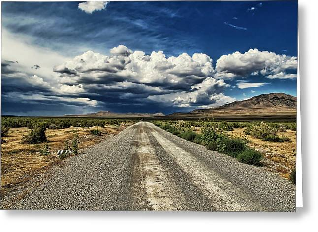 Gravel Road Greeting Cards - The Long Gravel Road Greeting Card by Mountain Dreams