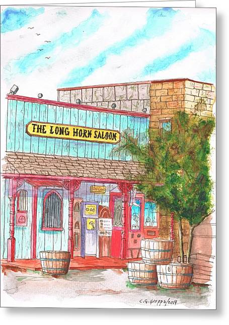 Saloons Paintings Greeting Cards - The Long Horn Saloon in Route 66 - Williams - Arizona Greeting Card by Carlos G Groppa