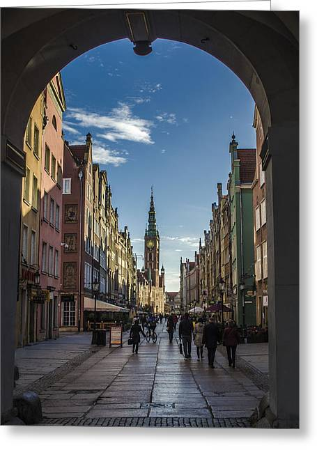 Long Street Greeting Cards - The Long Lane in Gdansk seen from the Golden Gate Greeting Card by Adam Budziarek