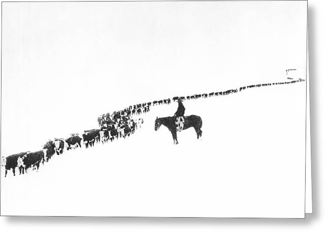 The Long Long Line Greeting Card by Underwood Archives  Charles Belden
