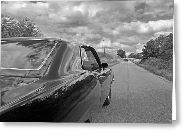 Suburban Posters Greeting Cards - The Long Road Home - Ford Torino Cobra Jet Greeting Card by Gill Billington