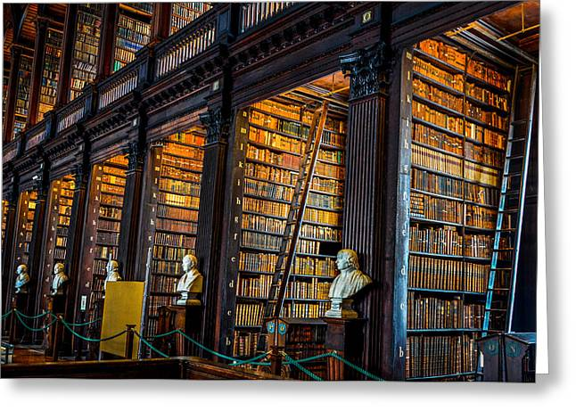 Historic Statue Greeting Cards - The Long Room in Trinity College Library Greeting Card by Marilyn Burton