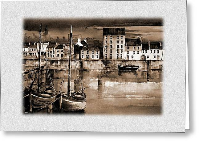 Val Byrne Greeting Cards - The Long Walk Galway Greeting Card by Val Byrne