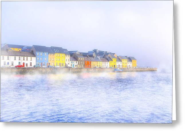 Galway Bay Greeting Cards - The Long Walk in a Galway Fog Greeting Card by Mark Tisdale
