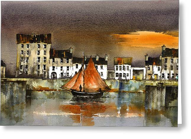 Val Byrne Greeting Cards - The Long Walk Sunset Galway Citie Greeting Card by Val Byrne