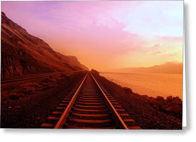 Railroad Tracks Greeting Cards - The Long Walk To No Where  Greeting Card by Jeff  Swan