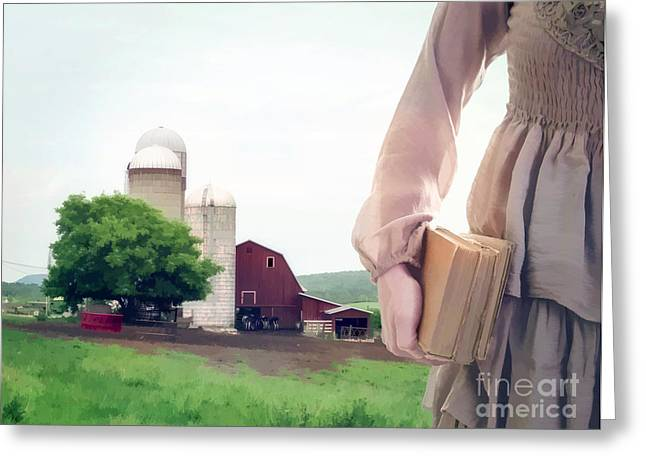 Wisconsin Barn Greeting Cards - The long walk to school Greeting Card by Edward Fielding