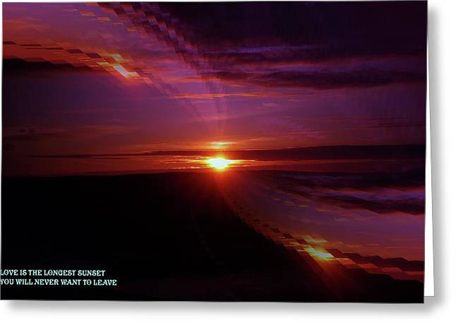 Sunset Greeting Cards Greeting Cards - The Longest Sunset Greeting Card by Jeff  Swan