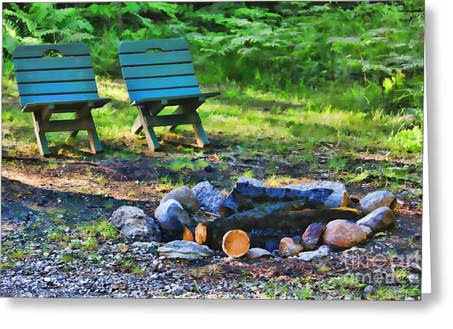 Firepit Greeting Cards - The Longing Greeting Card by Cathy  Beharriell