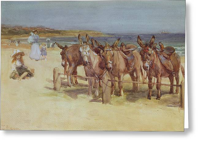 Donkey Drawings Greeting Cards - The Longsands, Tynemouth, Northumberland Greeting Card by John Atkinson
