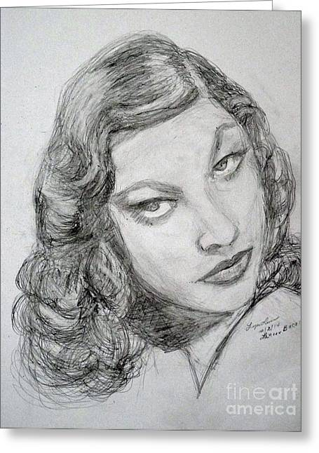 Bacall Greeting Cards - The Look Greeting Card by Lyric Lucas