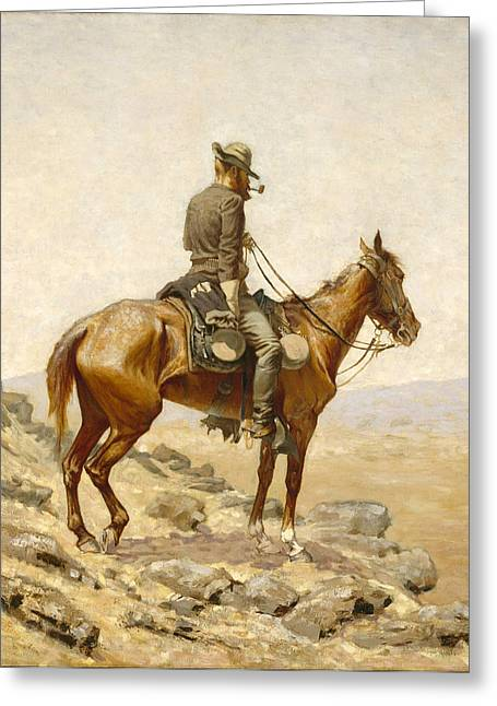 Remington Greeting Cards - The Lookout Greeting Card by Frederic Remington