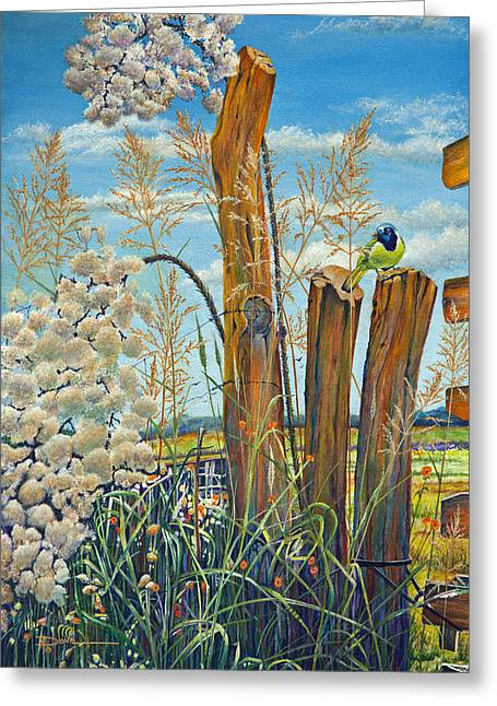 Old Fence Posts Paintings Greeting Cards - The Lookout Texas Green Jay Greeting Card by Mary Dove