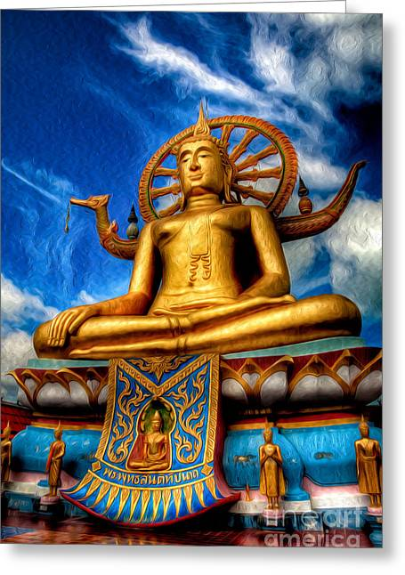 Religious Digital Greeting Cards - The Lord Buddha Greeting Card by Adrian Evans