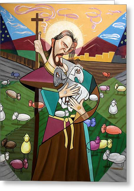 Cubestraction Greeting Cards - The Lord Is My Shepherd Greeting Card by Anthony Falbo