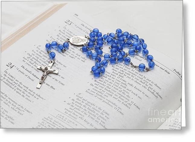 Rosary Greeting Cards - The Lord is My Shepherd Greeting Card by Diane Macdonald