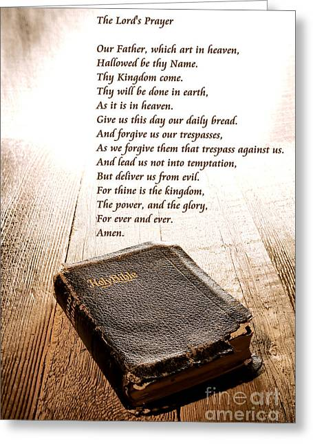 Divine Photographs Greeting Cards - The Lords Prayer and Bible Greeting Card by Olivier Le Queinec