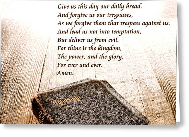 The Lord's Prayer and Bible Greeting Card by Olivier Le Queinec