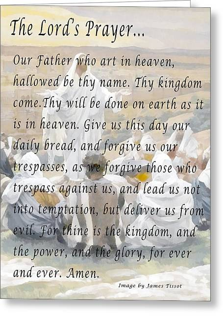 Religious Art Digital Art Greeting Cards - The Lords Prayer Greeting Card by James Tissot