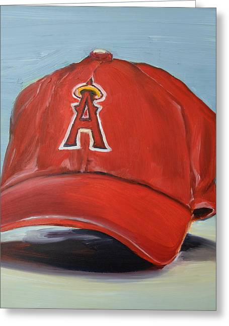 Baseball Art Greeting Cards - The Los Angeles Angels of Anaheim Greeting Card by Lindsay Frost