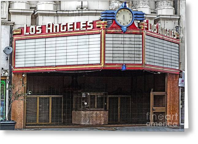 The Los Angeles Theatre Marquee Greeting Card by Gregory Dyer