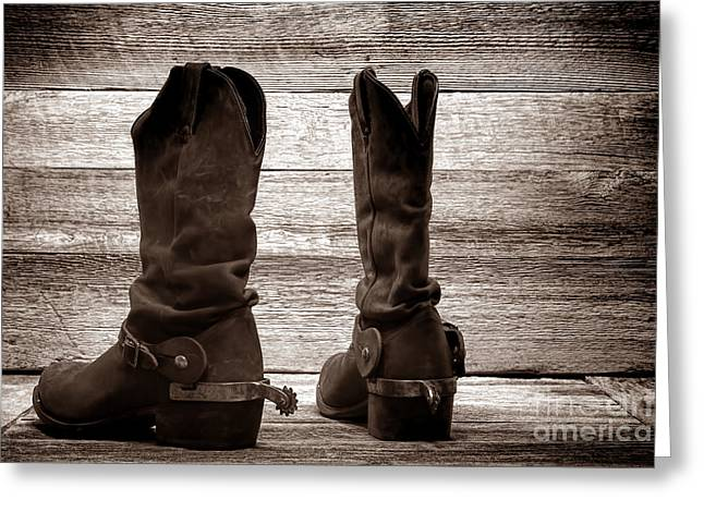Black Boots Greeting Cards - The Lost Boots Greeting Card by American West Legend By Olivier Le Queinec