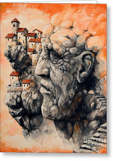 Fantasy World Greeting Cards - The lost city - The sentinel Greeting Card by Emerico Imre Toth